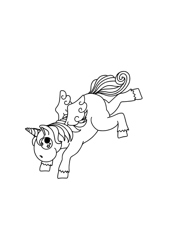 unicorn coloring page running