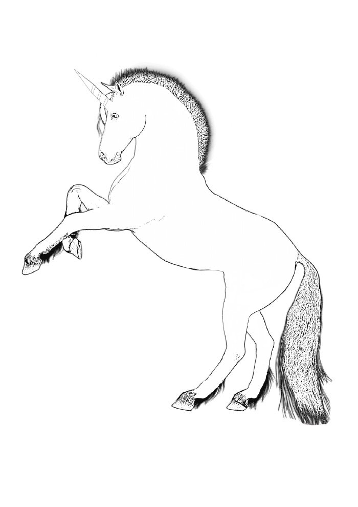 unicorn coloring page upright