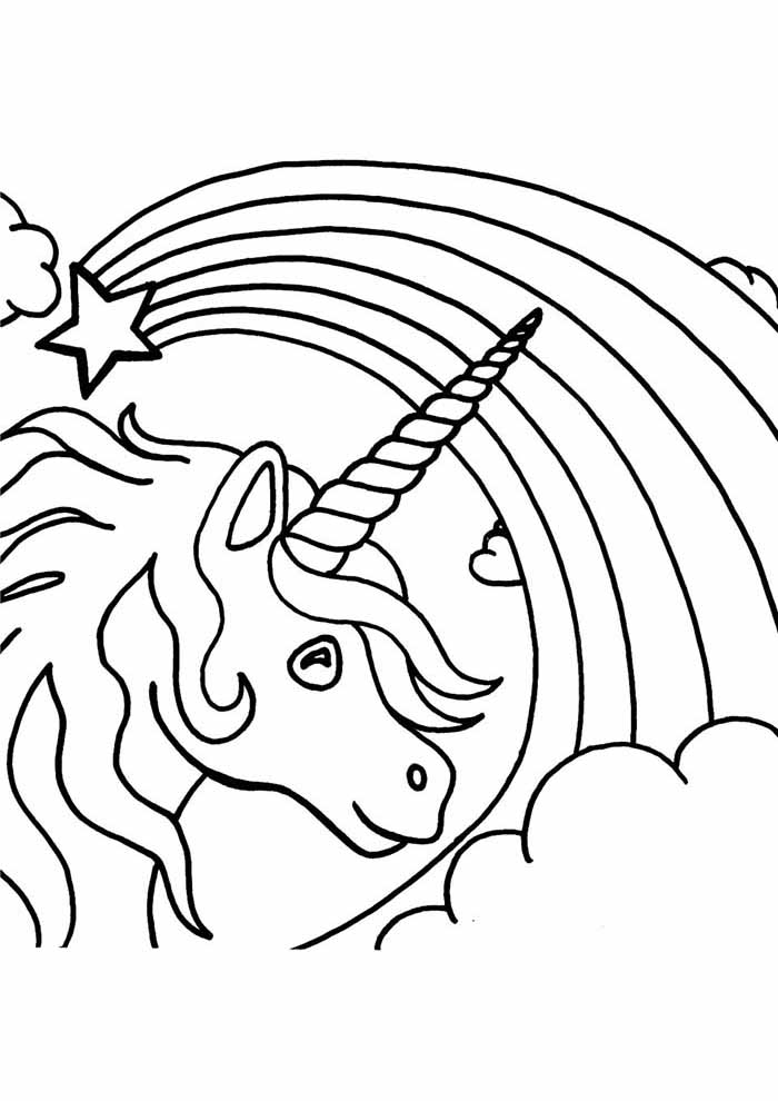 unicorn coloring page with rainbow