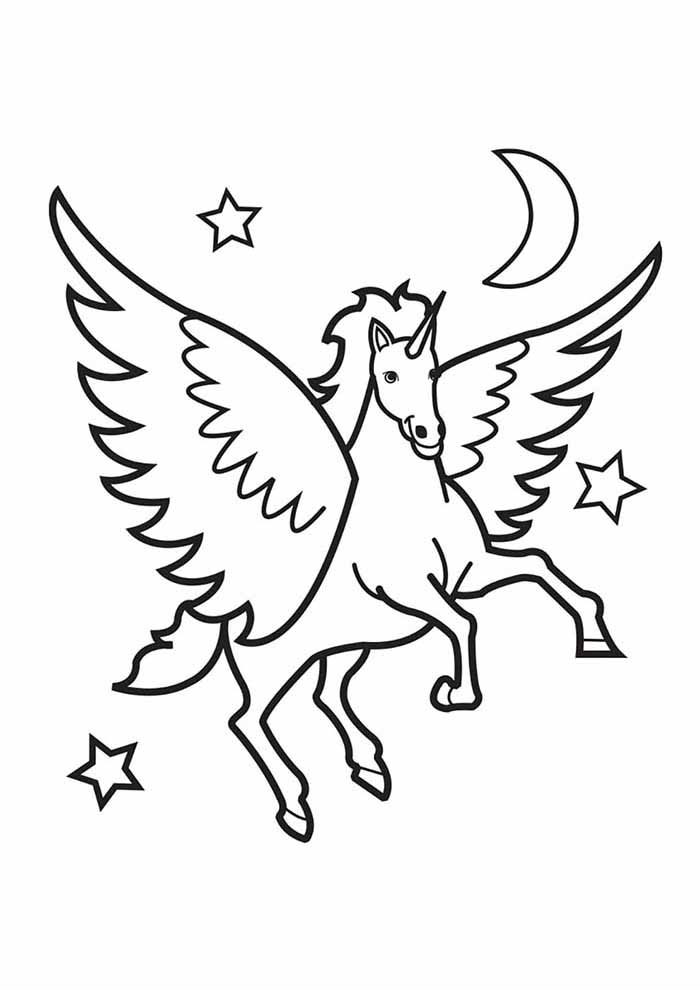 unicorn coloring page with stars and moon