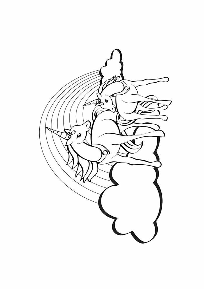 unicorns coloring page on the clouds