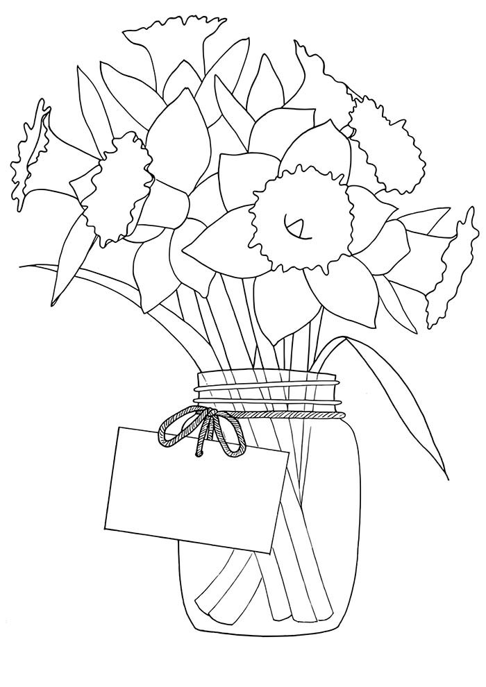 vase of flower coloring page