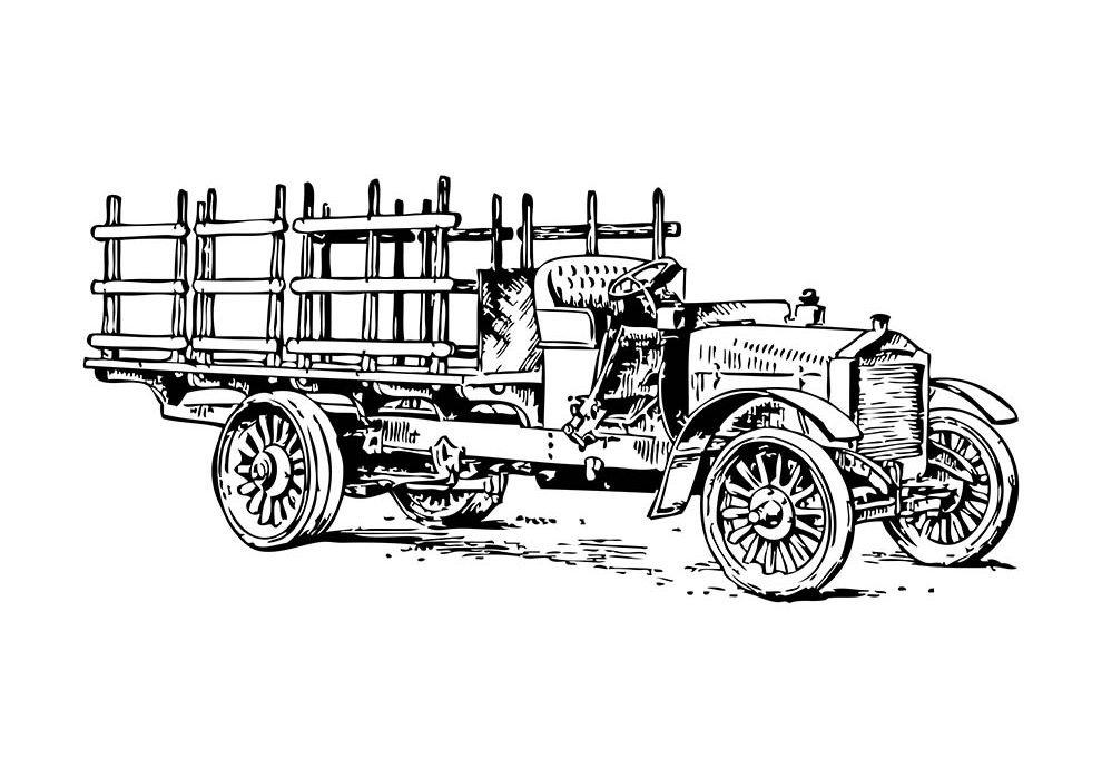 vintage cargo car coloring page