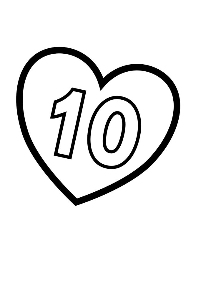 Illustrated number coloring page 10