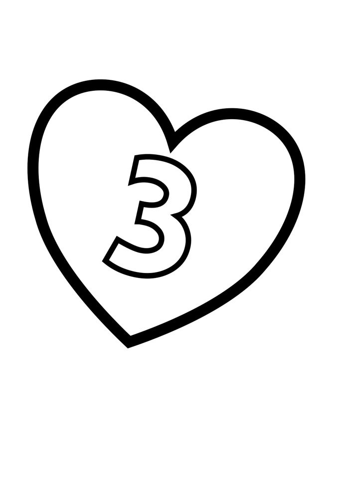 Illustrated number coloring page 3