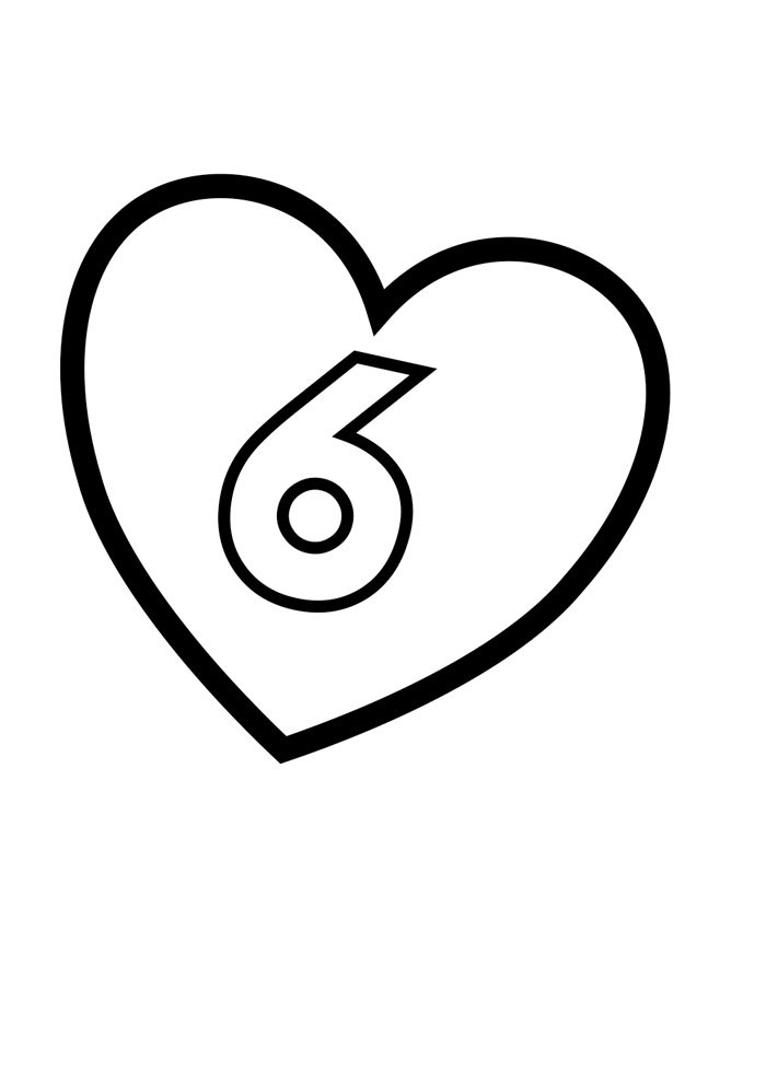 Illustrated number coloring page 6