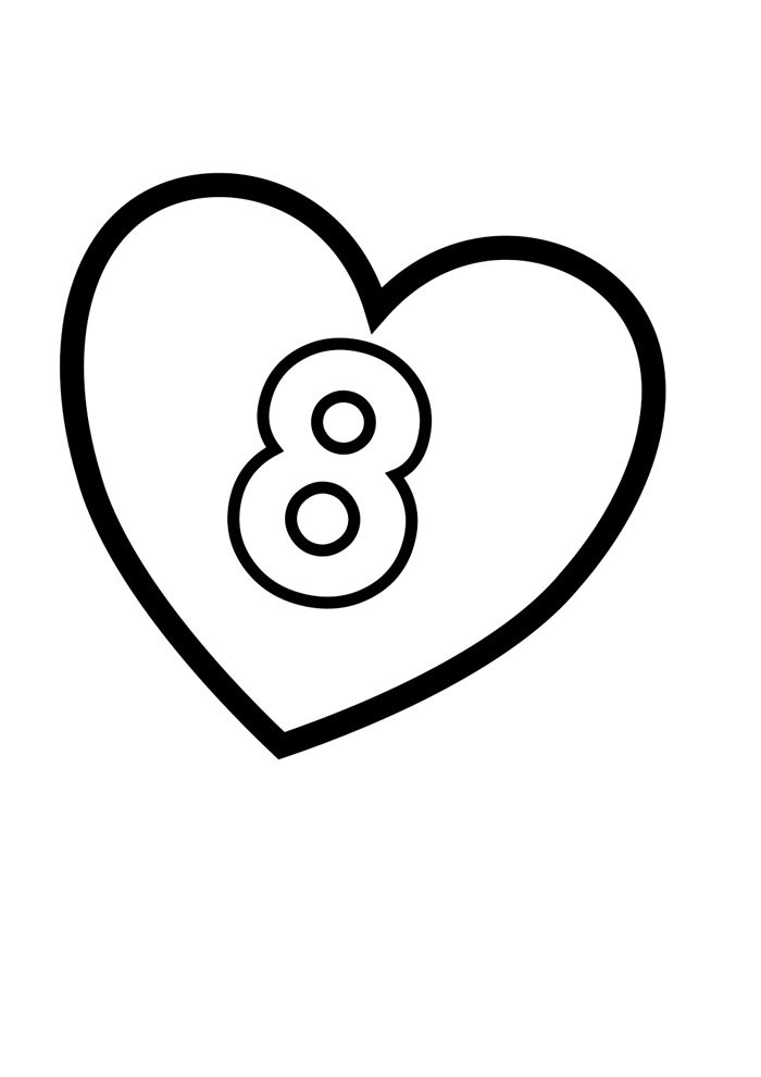 Illustrated number coloring page 8
