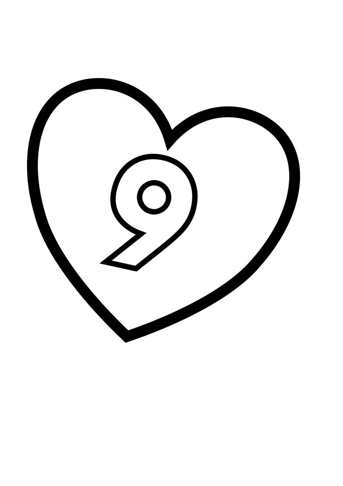 Illustrated number coloring page 9