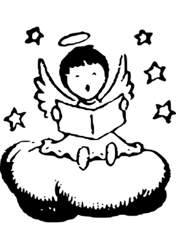 angel and stars coloring page
