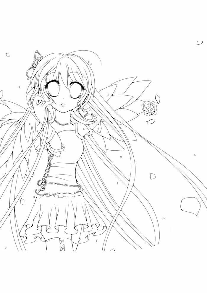 angel anime coloring page 2
