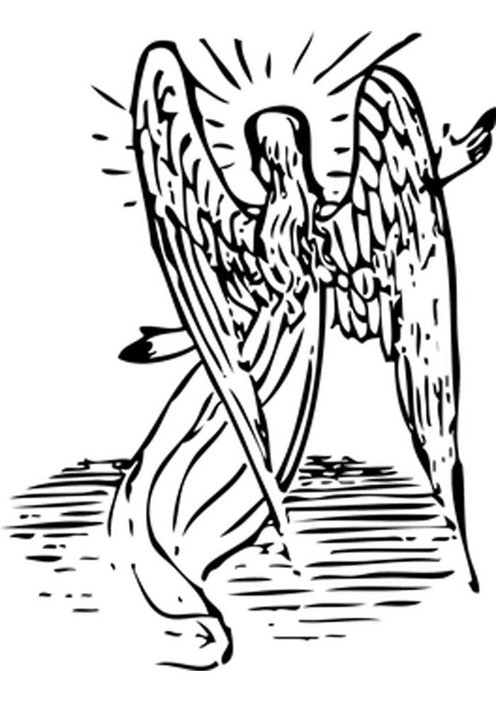 angel big wings coloring page
