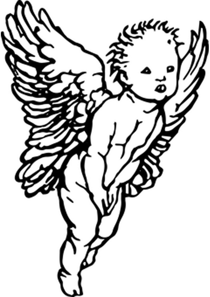 angel coloring page shy