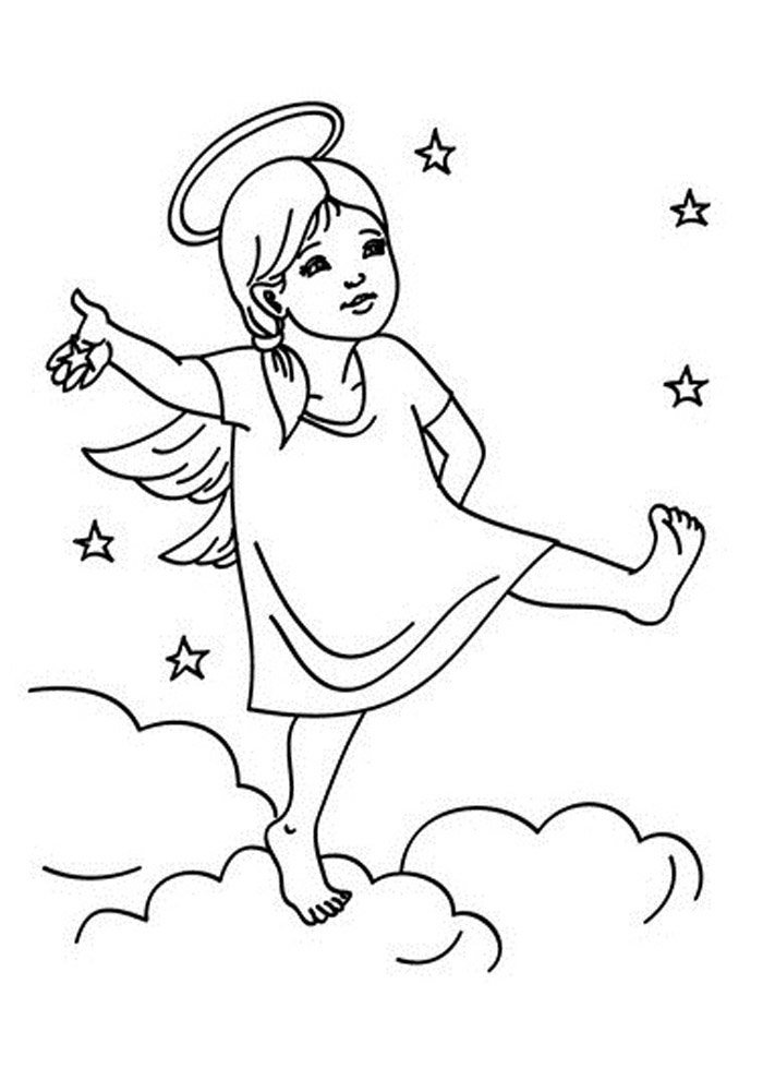 angel coloring page sky