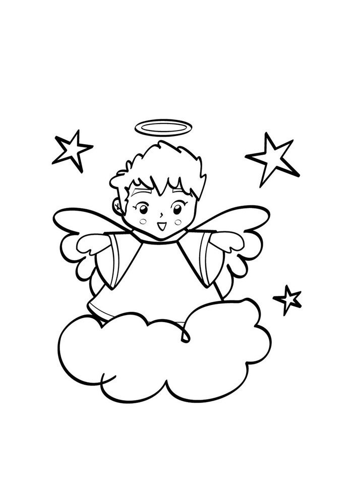 angel coloring page stars