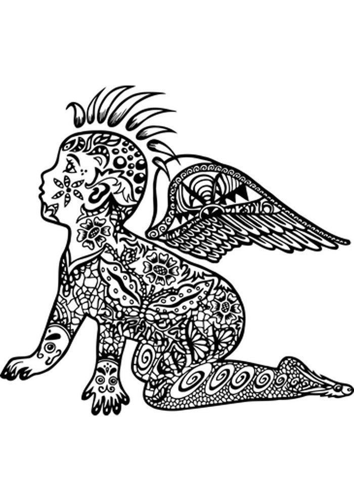 angel coloring page tattoo