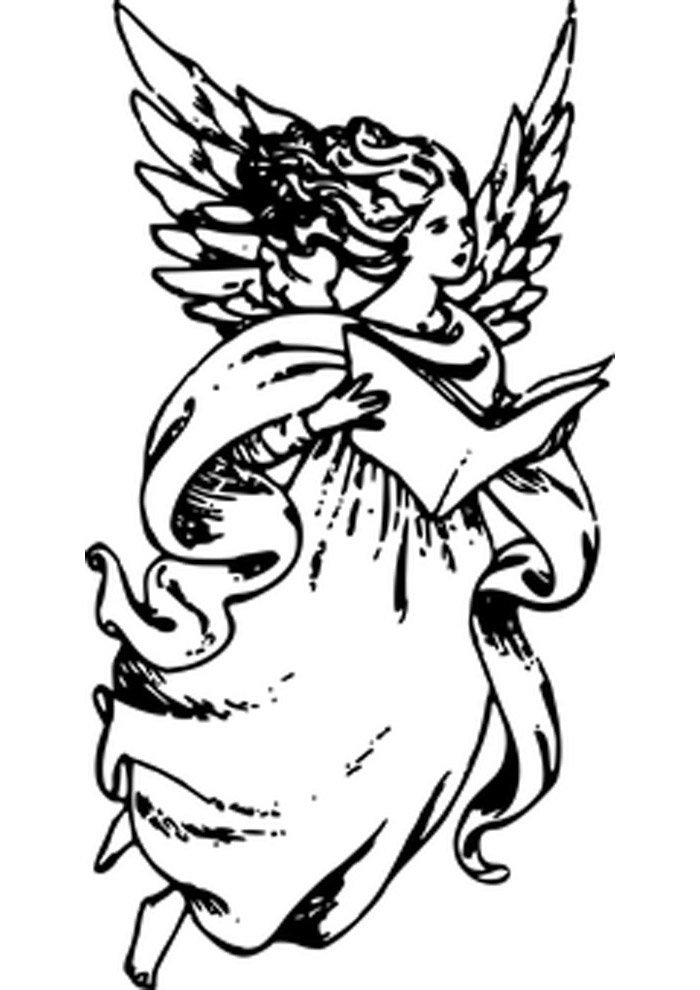 angel protector coloring page