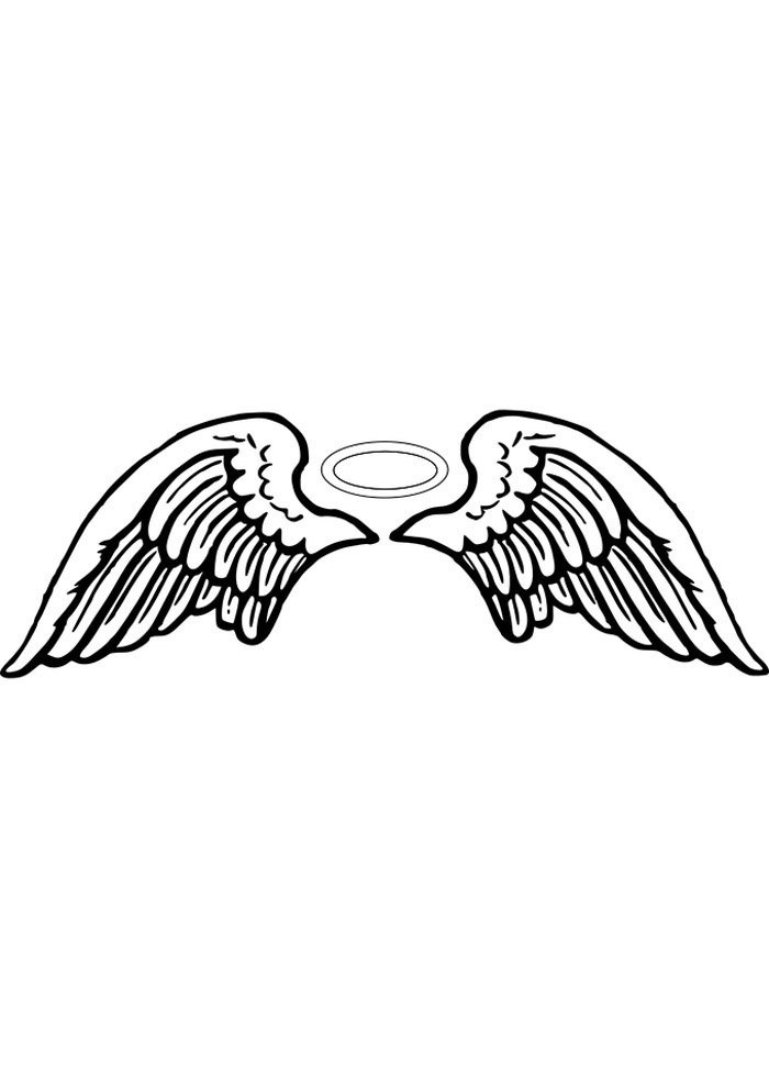 angel wings and halo coloring page