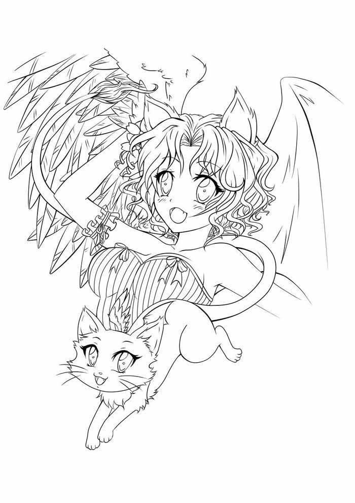anime coloring page and cat