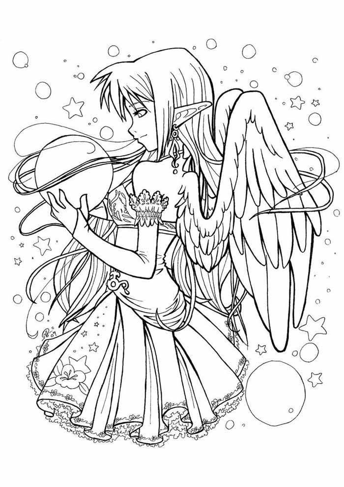 anime coloring page angel