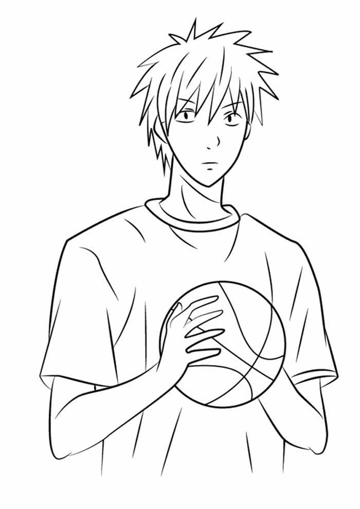 anime coloring page basketball