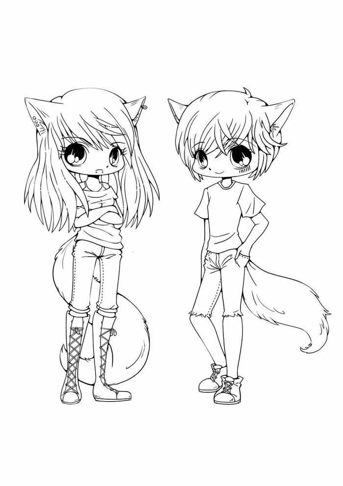 anime coloring page girl and boy
