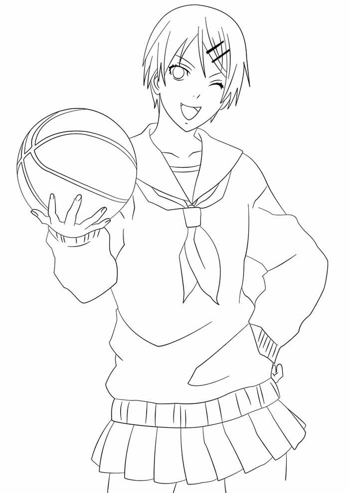 anime coloring page playing basketball