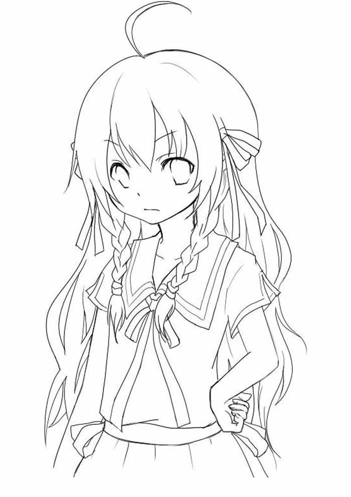 anime girl coloring page