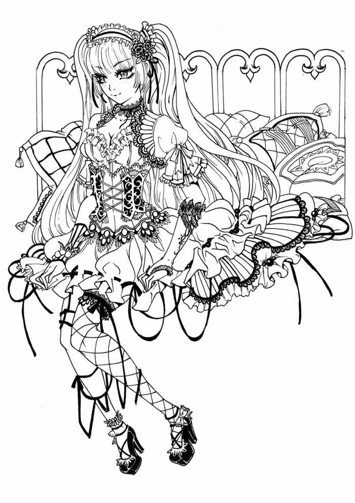 anime gothic fairy coloring page