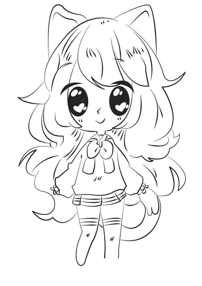 anime kawaii coloring page