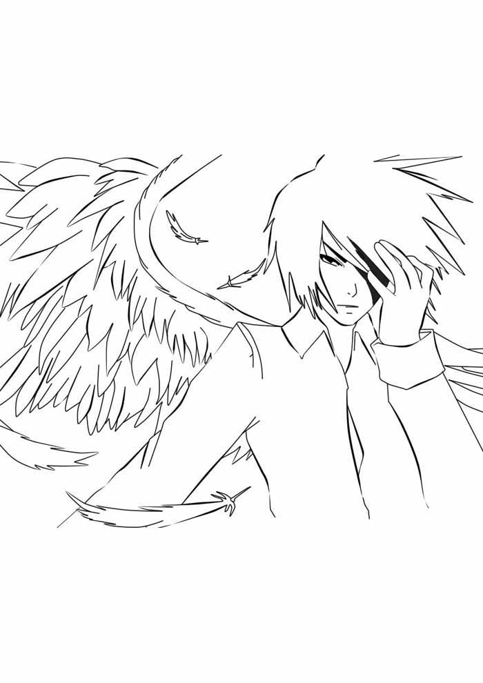 anime white angel coloring page