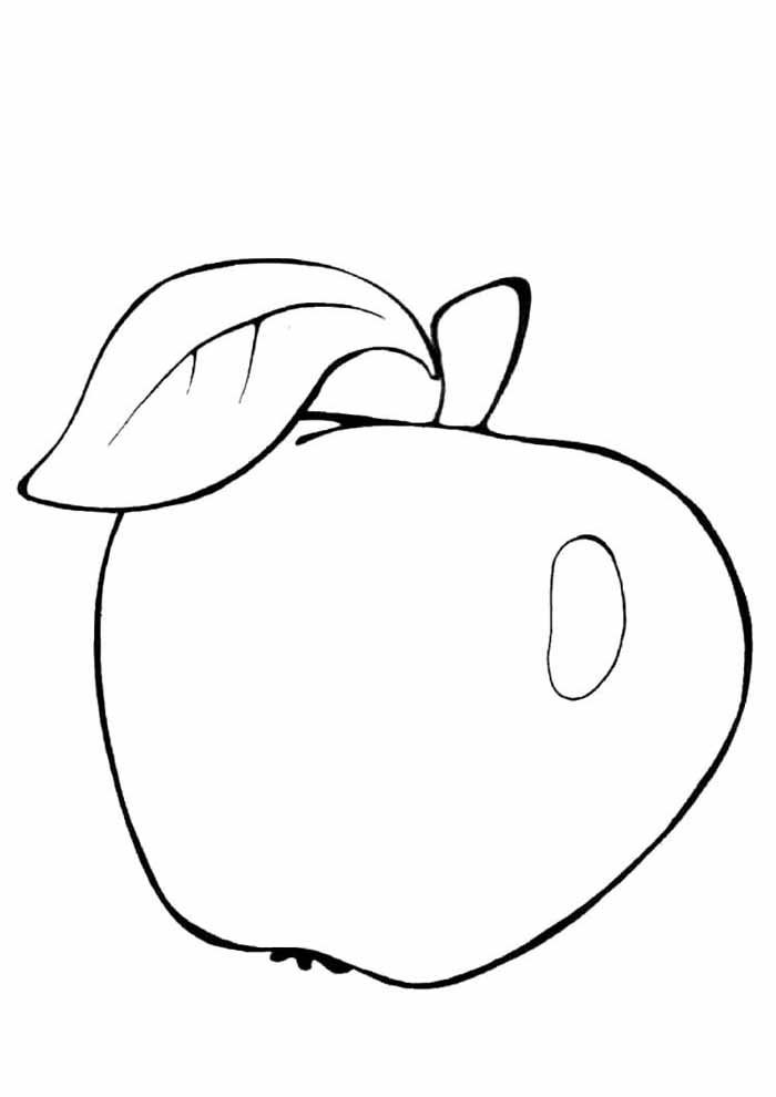 apple coloring page for kids