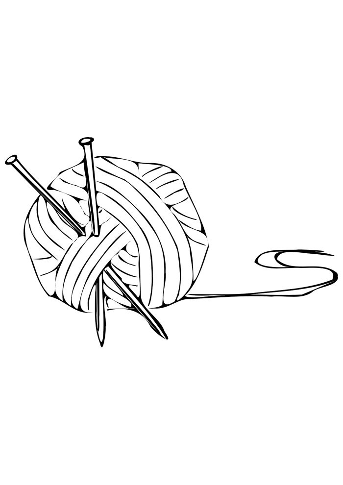 ball coloring page of wool