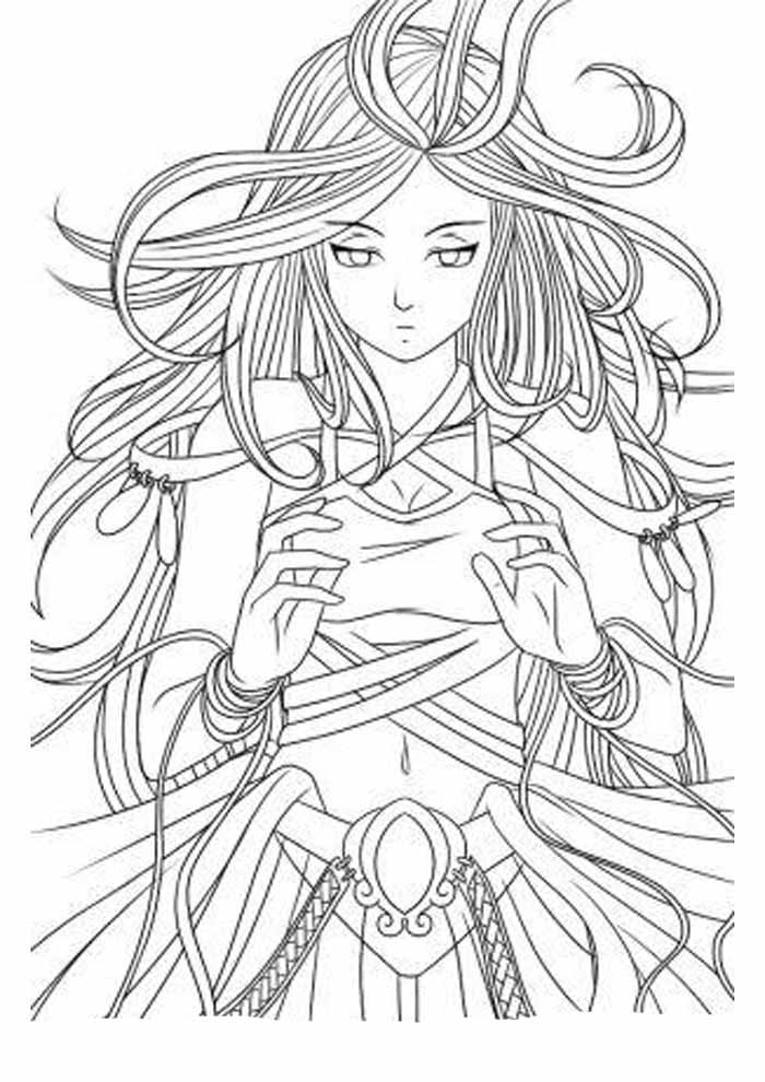 beautiful anime coloring page