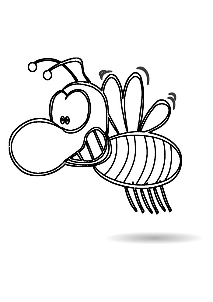 bee coloring page 2