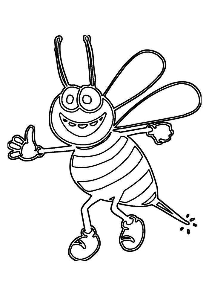 bee coloring page 4
