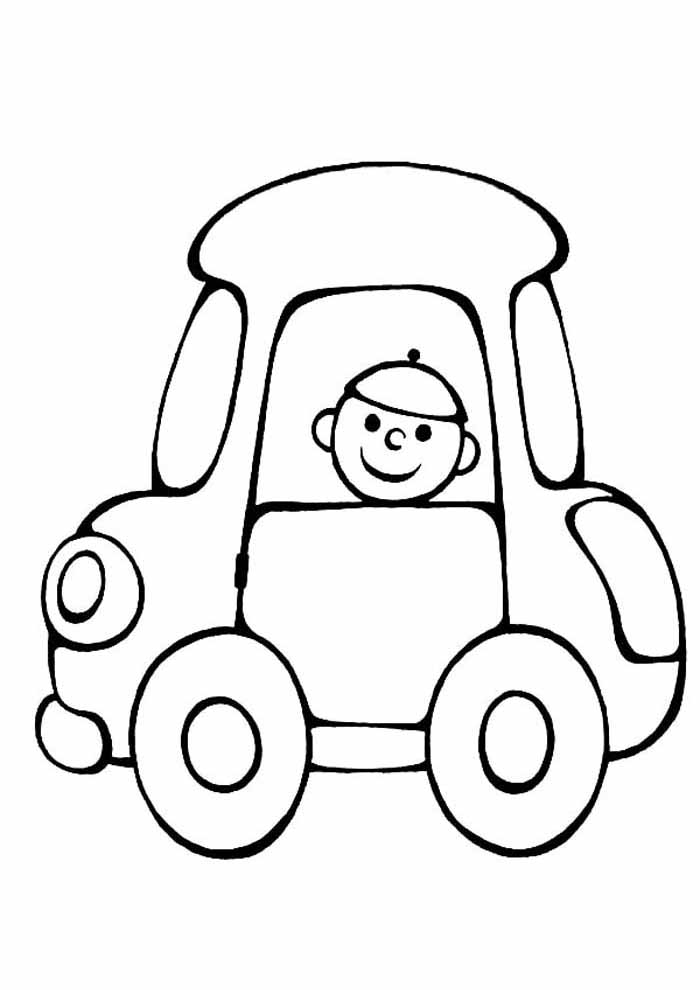 car and boy coloring page for kids