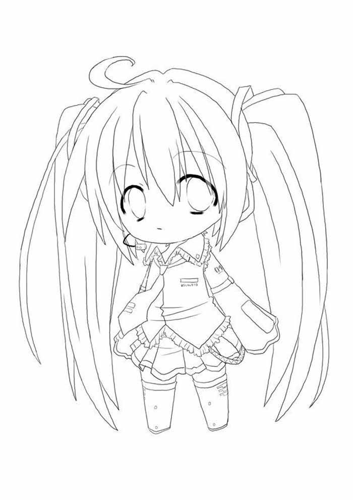 chibi anime coloring page