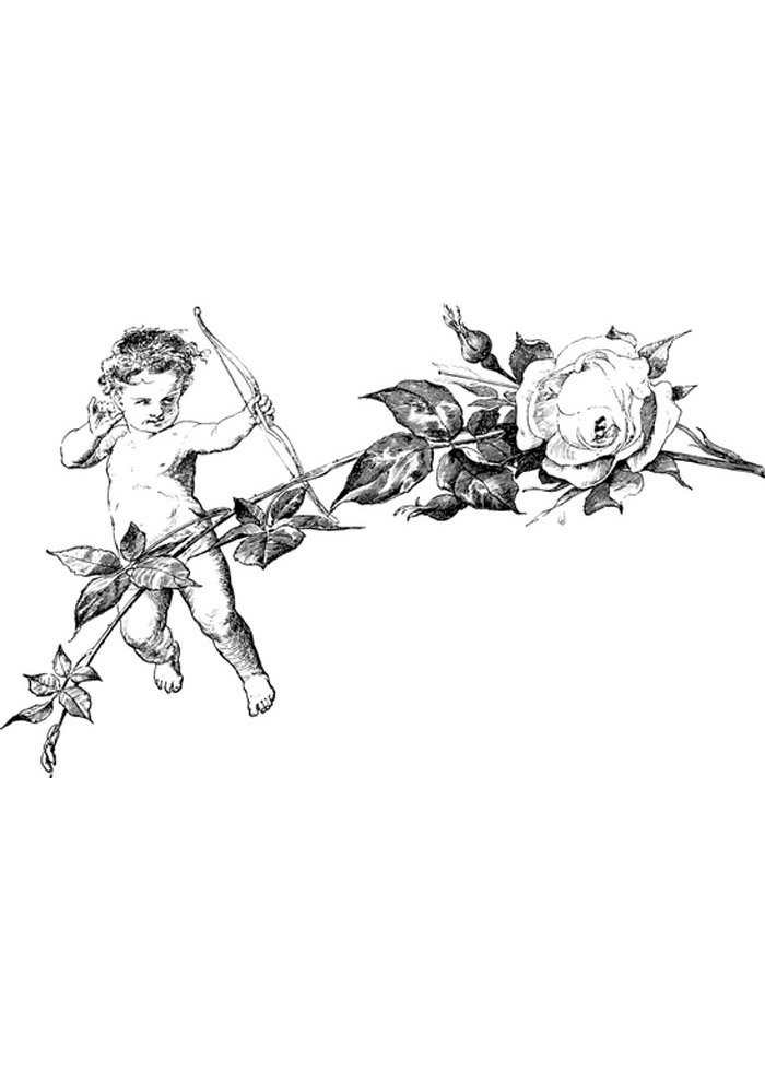 cupid angel and flower coloring pages