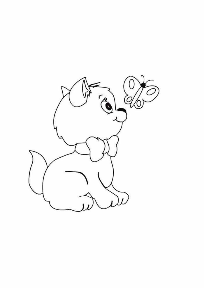 dog and butterfly coloring page for kids