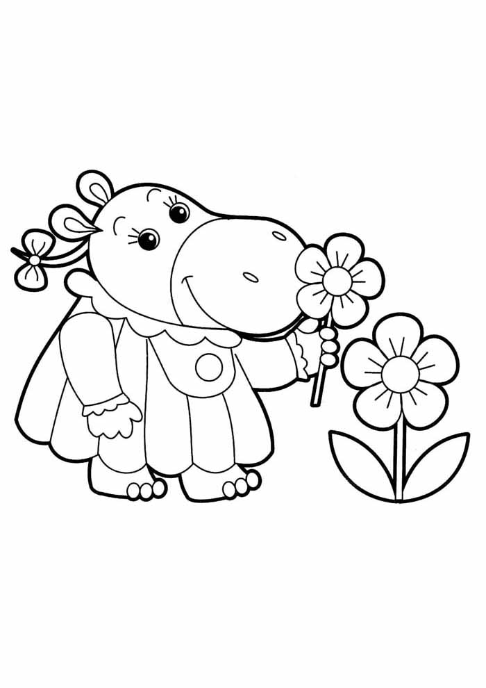 elephant and flowers coloring page for kids