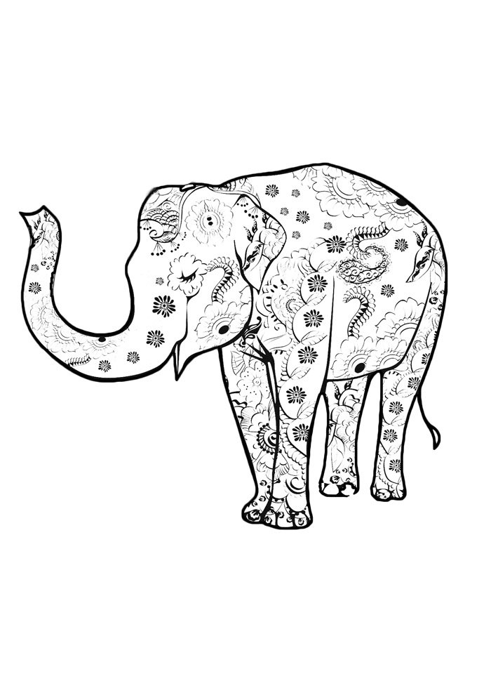 elephant coloring page 21
