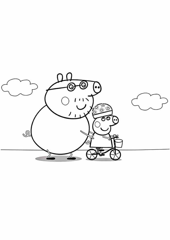 george and kid peppa pig coloring page
