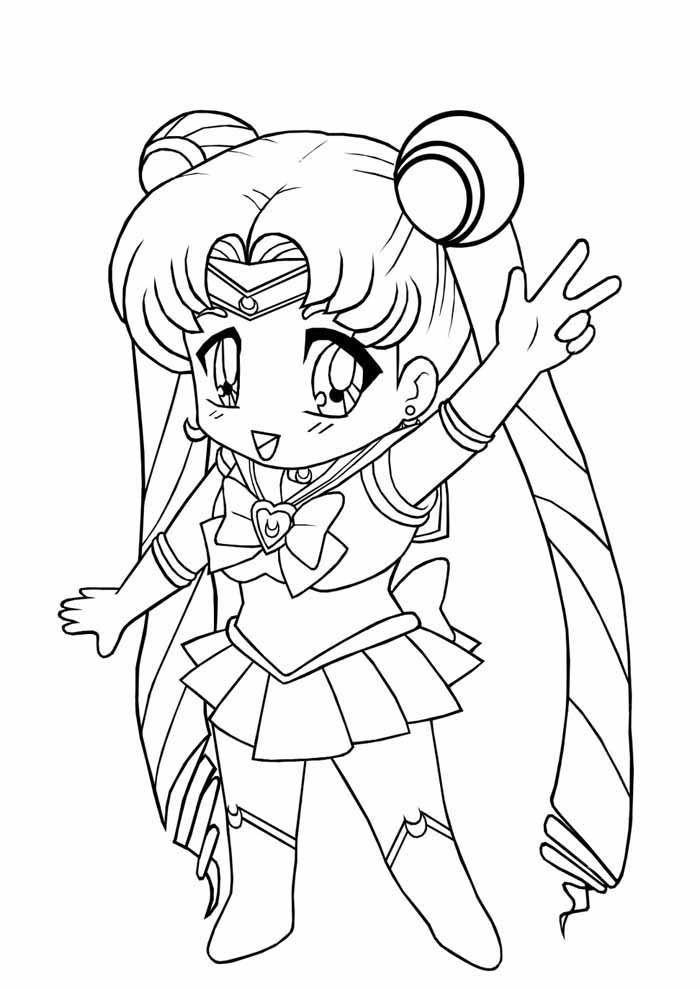 kid anime coloring page