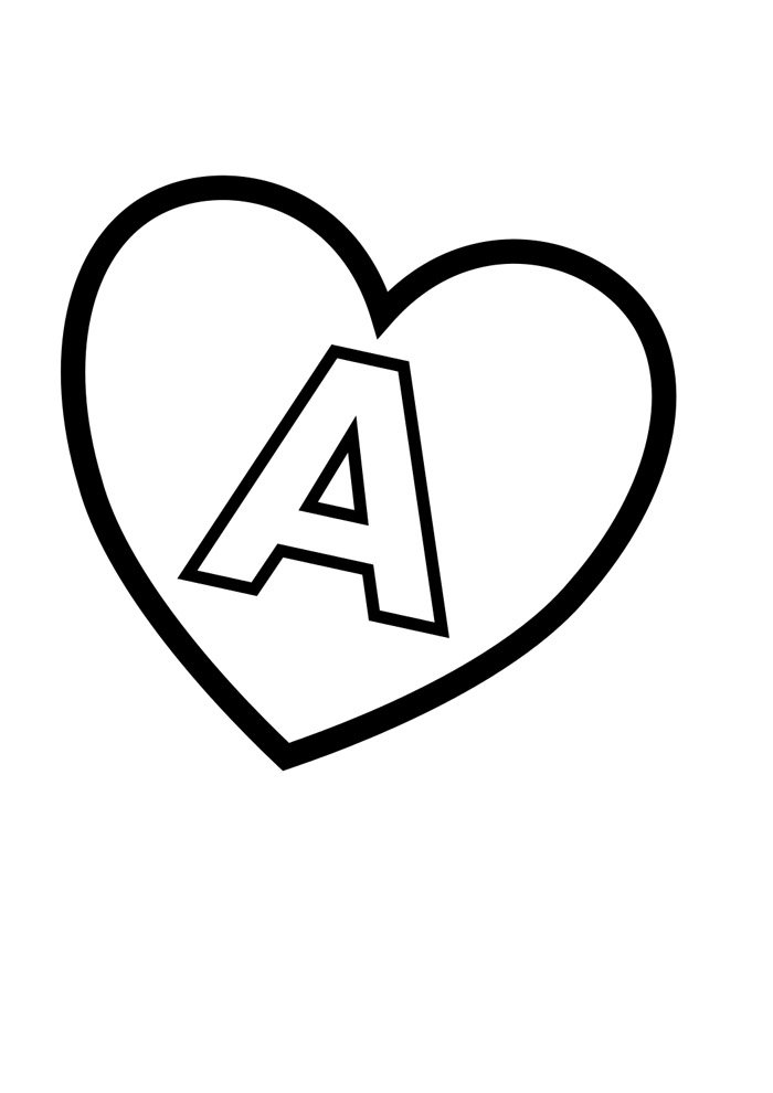 letter a coloring page illustrated