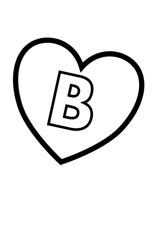 letter b coloring page illustrated