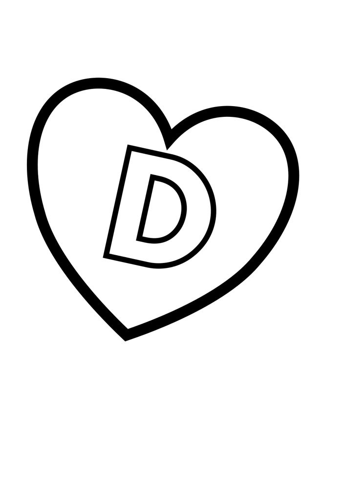 letter d coloring page illustrated
