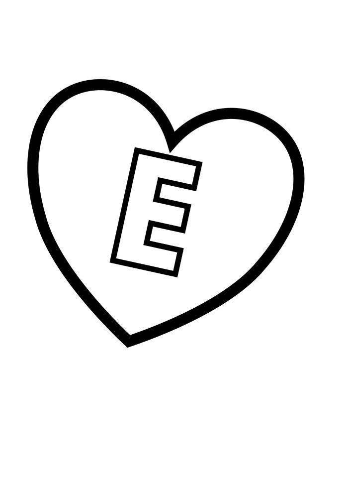 letter e coloring page illustrated