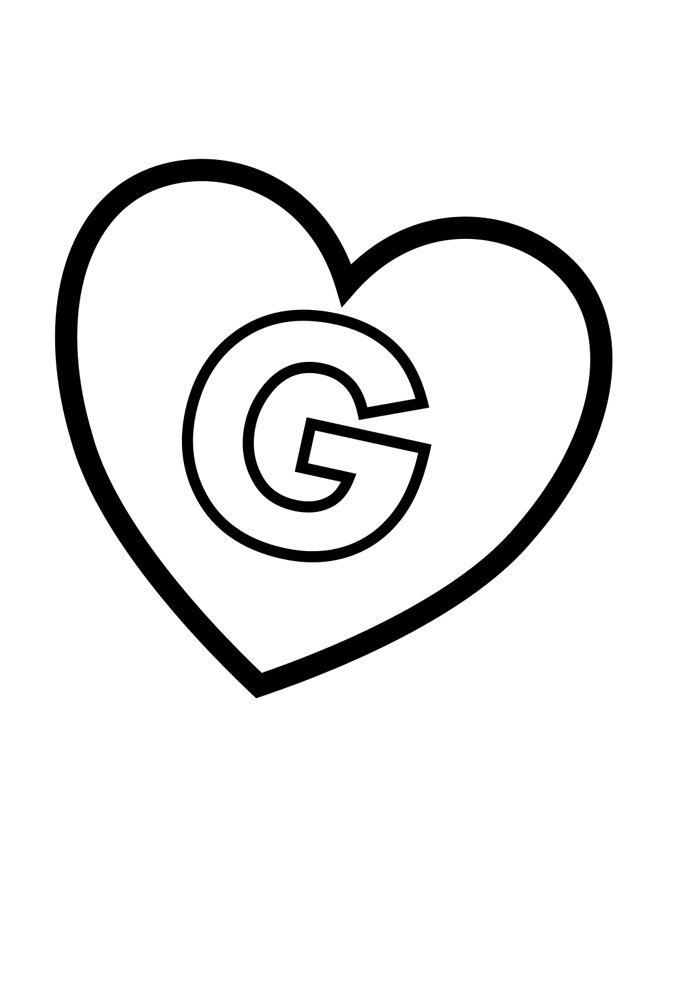 letter g coloring page illustrated