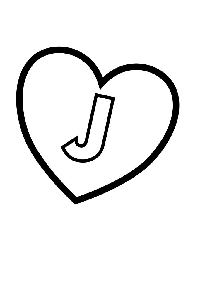 letter j coloring page illustrated