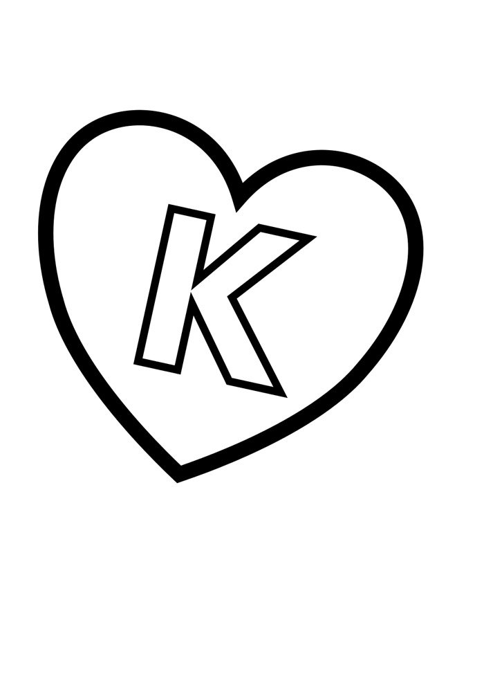 letter k coloring page illustrated